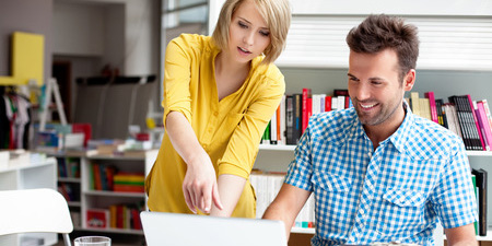 Guy and Woman on Computer